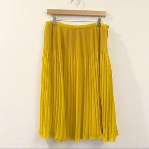 Zara Mustard Pleated Accordion Chiffon Skirt Sz L